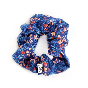 Bright Blue Floral Scrunchie