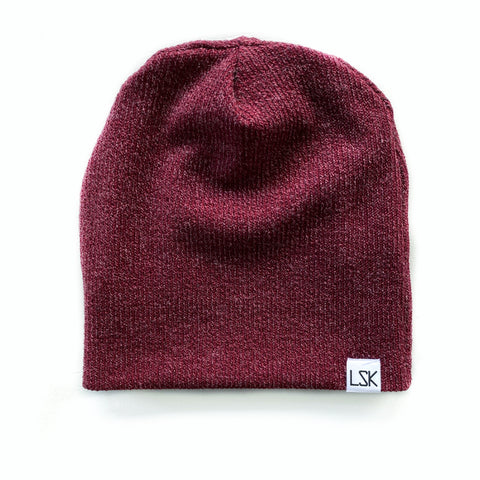 Burgundy Ribbed Sweater Knit Slouchy Beanie
