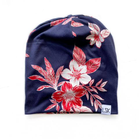 Navy Salmon Floral Adult Slouchy Beanie