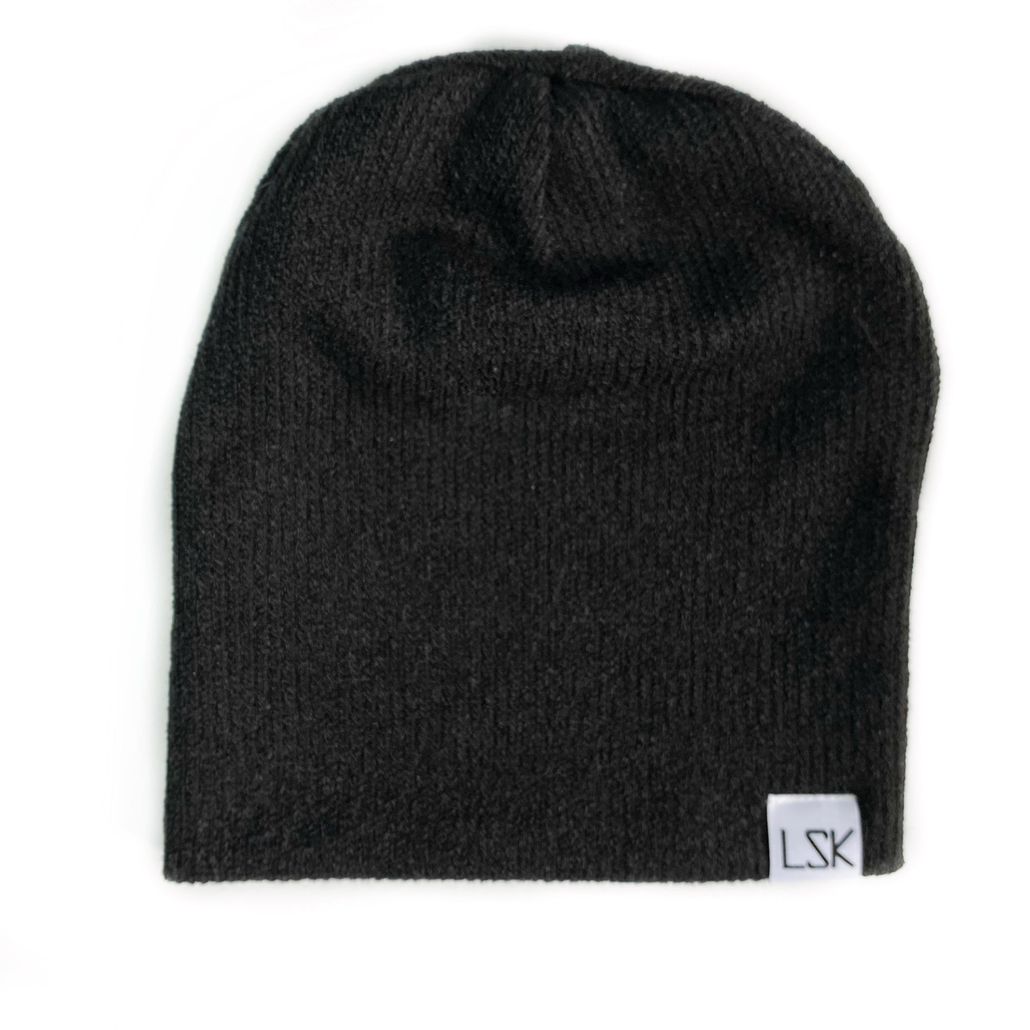 Black Ribbed Sweater Knit Slouchy Beanie