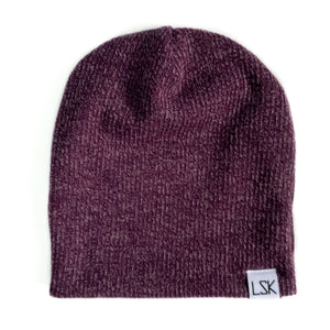 Bordeaux Ribbed Sweater Knit Slouchy Beanie