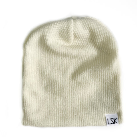 Cream Ribbed Sweater Knit Adult Slouchy Beanie