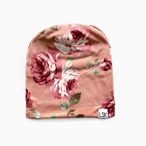 Peachy Pink Floral Adult Slouchy Beanie