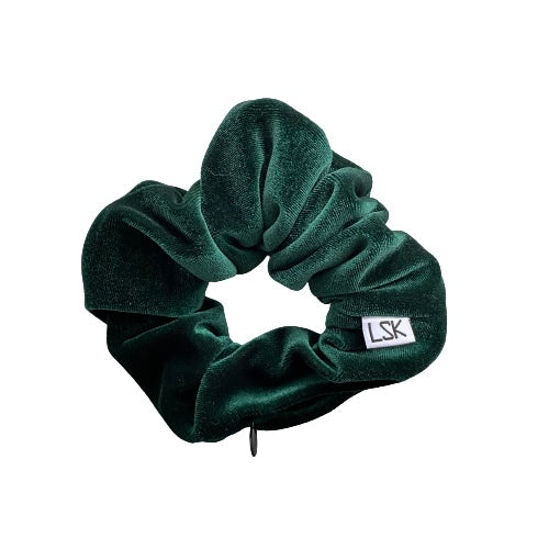 Forever Green Velvet Zipper Scrunchie