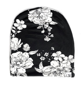 Monochrome Floral Slouchy Beanie