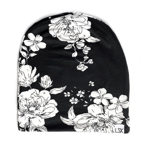 Monochrome Floral Adult Slouchy Beanie