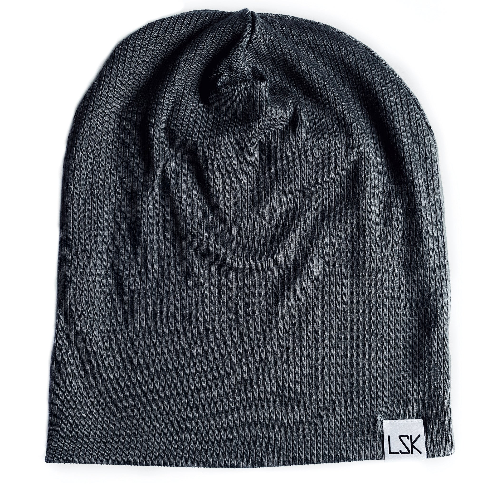 Pavement Grey Ribbed Slouchy Beanie