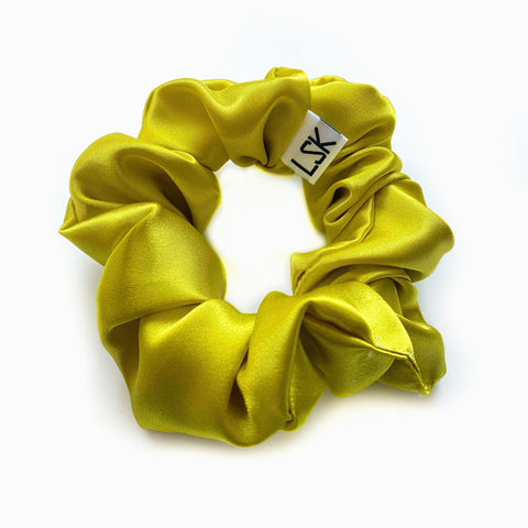 Chartreuse Satin Scrunchie