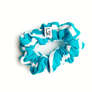 Aqua Stripe Scrunchie