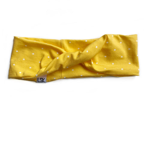 Yellow Polka Dot Bikini Knit Twistband