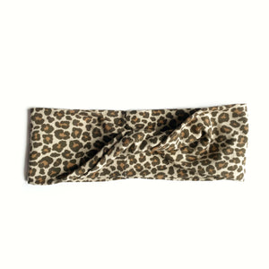 Tan Leopard Knit Twistband