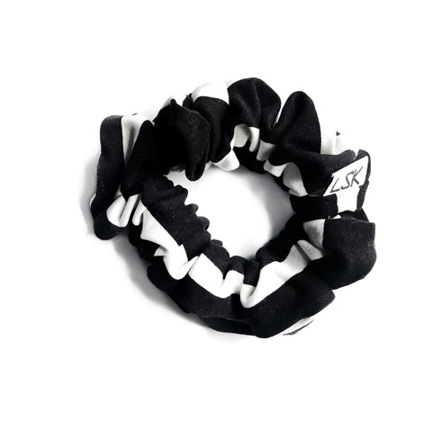 Black with White Stripe Scrunchie