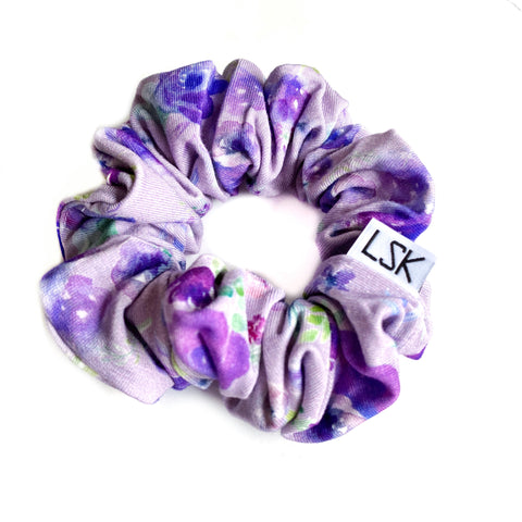 Exclusive Purple Floral Bamboo Scrunchie