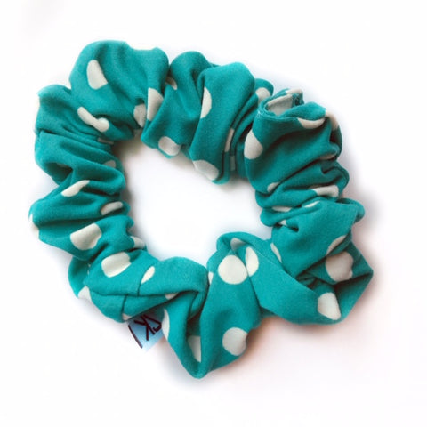 Teal Polka Dot Scrunchie