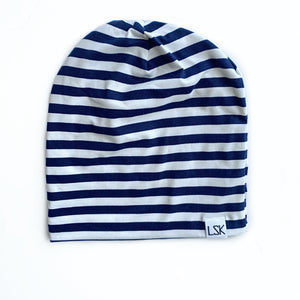 Navy Stripe Adult Slouchy Beanie