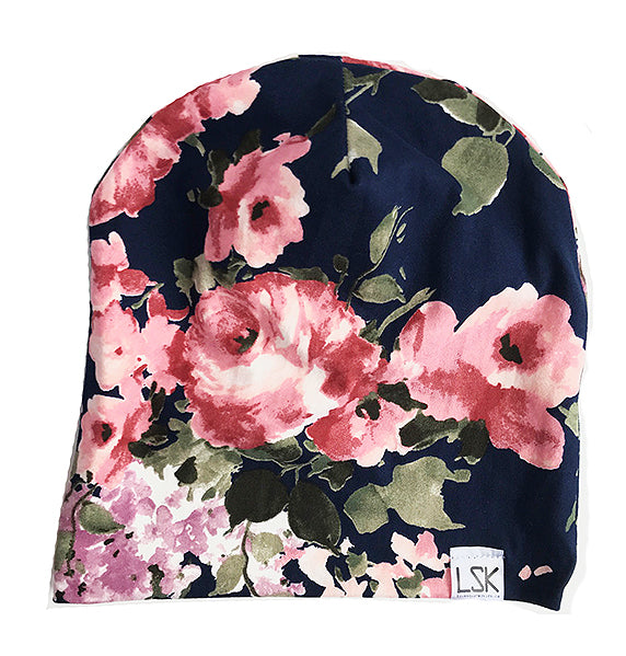 Navy Floral Slouchy Beanie