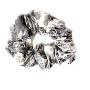 Shades of Grey Floral Scrunchie