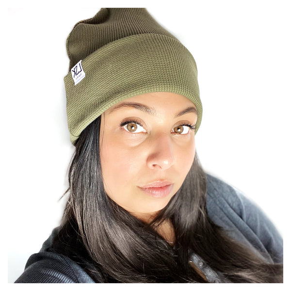 Olive Organic Thermal Waffle Adult Slouchy Beanie