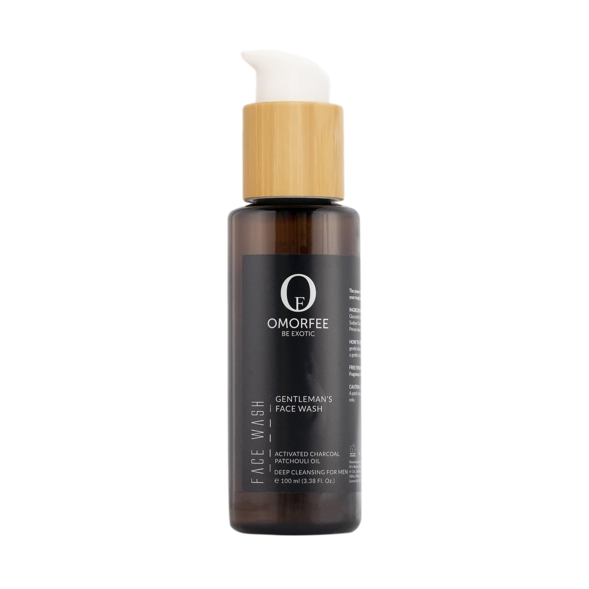 Omorfee Organic and natural face wash with activated charcoal for deep cleansing. Daily face wash for men. Mens face wash for deep cleansing.