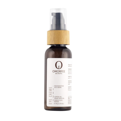 Omorfee organic and all natural eye cream for dark circles and eye puffiness. Eye cream with coffee oil.