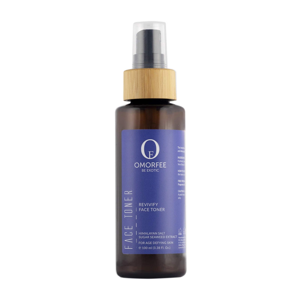 Omorfee organic and natural anti-aging face toner. Daily use face toner for younger skin. Face toner with Himalayan salt and sugar seaweed extract.