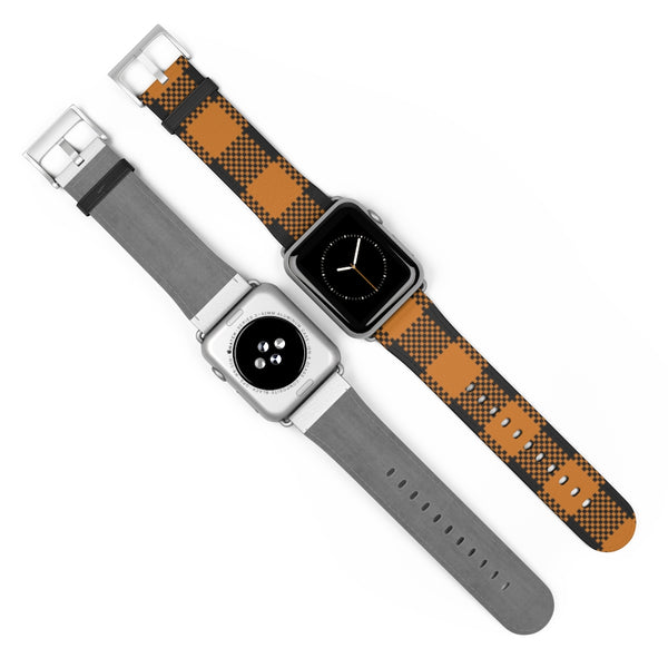 Brown Plaid Leather Apple Watch Band 38mm and 42mm