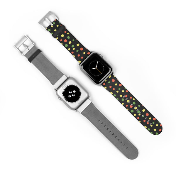 Multi Color Dots Leather Apple Watch Band 38mm and 42mm