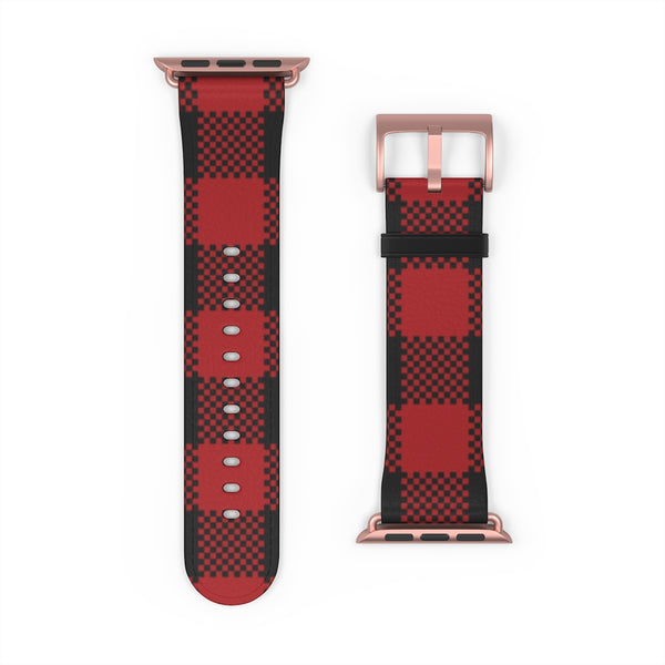 Red Plaid Leather Apple Watch Band 38mm and 42mm