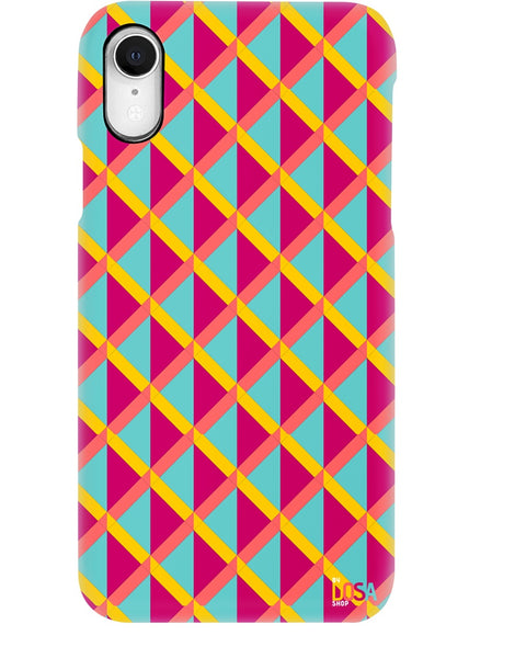Triangle Pattern In Cyan And Red - Phone Case (IPhone and Samsung) - By Dosa