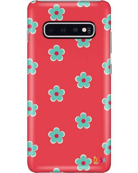 Cyan White Flowers In Red - Phone Case (IPhone and Samsung) - By Dosa