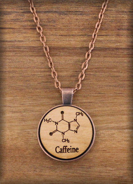 Caffeine - 25mm - Wood Art Designer Necklace