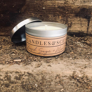 Basil Sage + Mint 8 oz Candle Tin by Rural Farm Co.