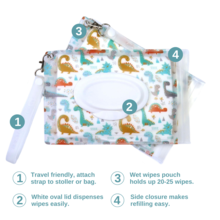 Dino Wet Wipes Pouch by Orchid Hearts