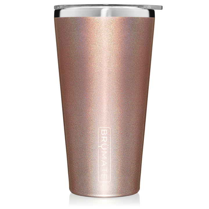 Glitter Rose Gold Imperial Pint (20 oz) by Brumate