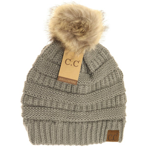 Fur Pom Hat - Multiple Colors - by CC Beanie