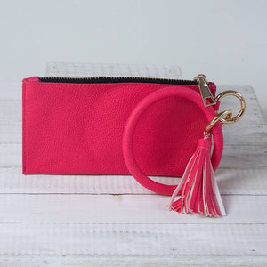 Hot Pink Bracelet Keychain and Wristlet with Tassel by Lauren Lane