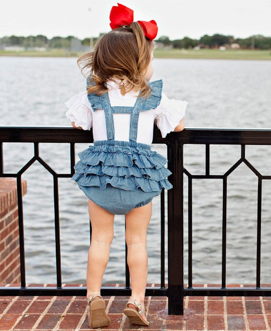 Light Wash Denim Flutter Overall Romper by Ruffle Butts