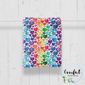 Rainbow Hearts Comfort Kid Blanket by Fluff Journey