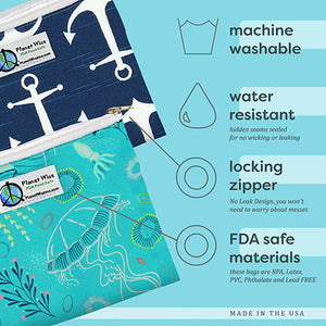 Reusable Celestial Sea Sandwich Bags (2 pack) by Planet Wise