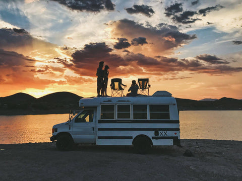 adventure bus at sunset