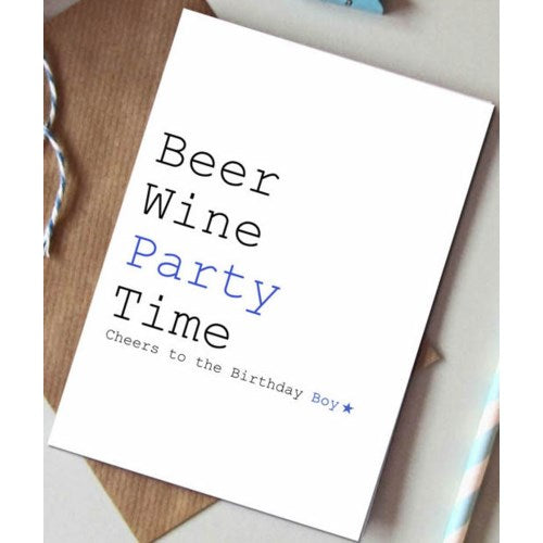 Beer, Wine, Party Card