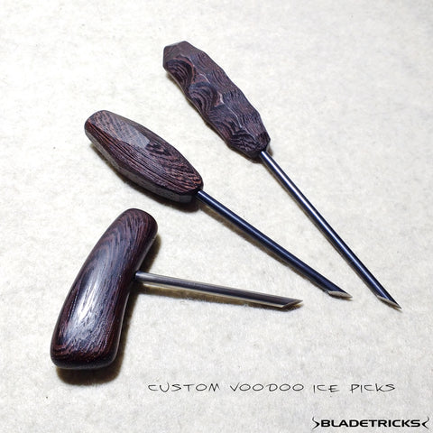 CUSTOM BLADETRICKS VOODOO PUSH ICE PICK, 5 MM & EXOTIC WOOD
