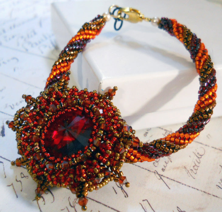 Autumn Bloom Bracelet Design Tutorial - Red & Orange Colorway.