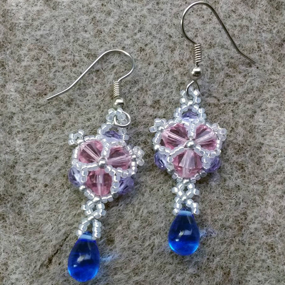 Winter Sparkle Crystal Beaded Earrings Rose & Violet Colorway.