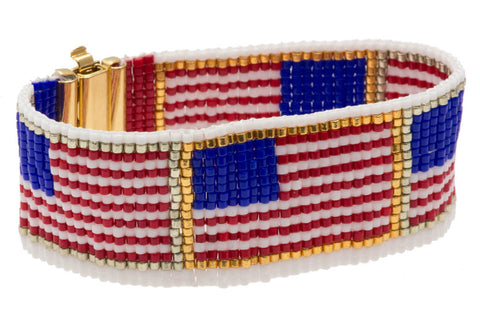 Miyuki delica american flag bracelet pattern auracrystals for Patriotic beaded jewelry patterns