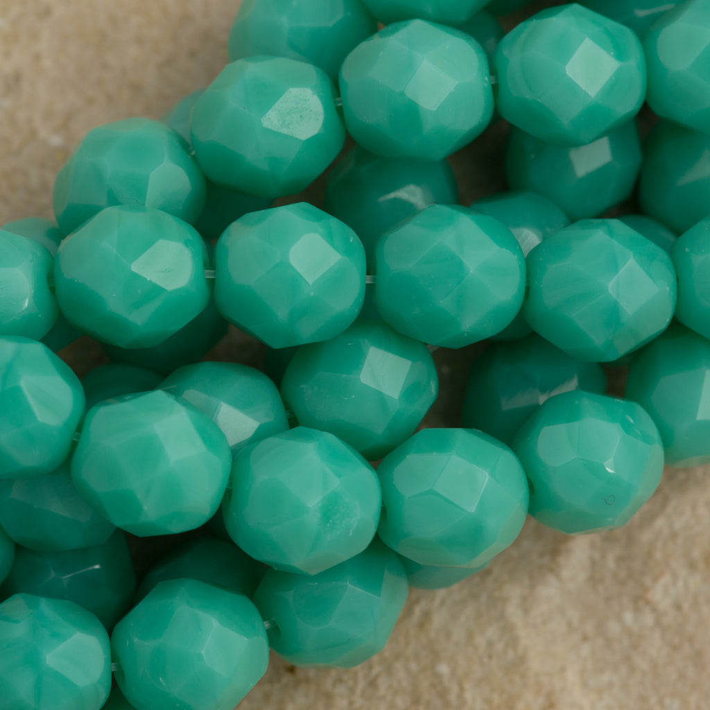 50 Czech Fire Polished 6mm Round Bead Opaque Turquoise (63130)
