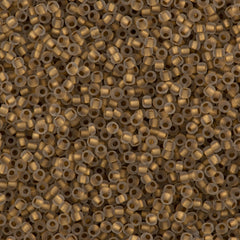Toho Round Seed Bead 15/0 Inside Color Lined Matte Gold 2.5-inch Tube (989F)
