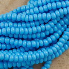 Czech Seed Bead Opaque Light Blue 1/2 Hank 8/0 (63020)