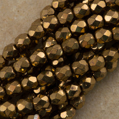 100 Czech Fire Polished 3mm Round Bead Bronze (90215)