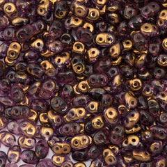 Super Duo 2x5mm Two Hole Beads Amethyst Semi Bronze Luster 15g (20060SBL)